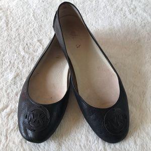 Michael Kors MK Black Leather Ballet Flats sz 9.5M